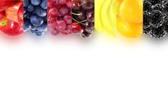 Fruit border frame on white background Healthy eating and dieting food concept with space for text. Nature Food health related Blog art banner web design Royalty Free Stock Images