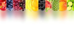 Fruit border frame on white background Healthy eating and dieting food concept with space for text. Nature Food health related Blog art banner web design Stock Images