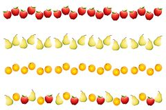 Fruit Borders or Dividers. An illustration featuring your choice of fruit borders or dividers with apples, pears, and oranges Royalty Free Stock Photography
