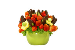 Fruit bouquet. Assorted colorful fruits arranged into a decorative bouquet royalty free stock photography