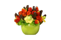 Fruit bouquet. Assorted colorful fruits arranged into a decorative bouquet royalty free stock photos