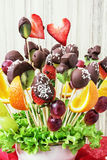 Fruit bouquet with chocolate frosting, gift for you Royalty Free Stock Photography