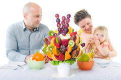 Fruit bouquet decoration on the dining table Royalty Free Stock Images