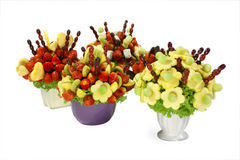Fruit bouquets. Assorted colorful fruits arranged into a decorative bouquet royalty free stock images