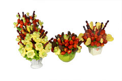 Fruit bouquets. Assorted colorful fruits arranged into a decorative bouquet stock photo
