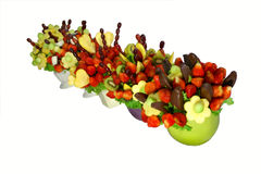 Fruit bouquets. Assorted colorful fruits arranged into a decorative bouquet stock images