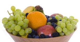 Fruit Bowl 1. A fresh bowl of fruit with a white background royalty free stock photo