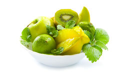 Fruit bowl. Green fruit bowl, isolated on a white background Royalty Free Stock Image