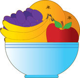 Fruit Bowl. Blue bowl filled with oranges apples bananas an grapes Stock Images