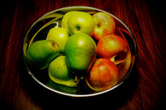 Fruit bowl. Colorful fruit in a silver bowl Stock Photo