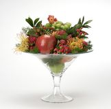 Fruit bowl. Glass bowl of fruit Stock Photos