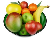 Fruit Bowl. Fresh Fruit in a Green Glass Bowl Stock Image