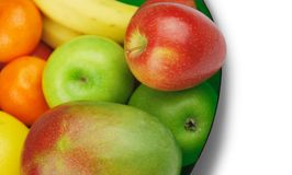 Fruit Bowl. Fresh Fruit in a Glass Bowl Stock Photo