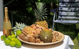 Fruit bowl and champagne Royalty Free Stock Photo