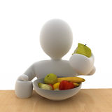 Fruit bowl. A 3D man eating healthy fruit Royalty Free Stock Image