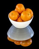 Fruit bowl filled with Orange Tangerintes Stock Images