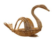Fruit bowl in the form of a swan from twigs of willow. Ryazan oblast. Russia Royalty Free Stock Photos