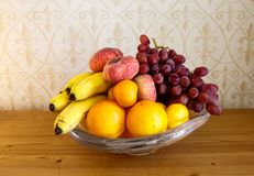 A fruit bowl with fresh fruit stock photo