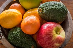 Fruit Bowl. With oranges,avocado, apples and lemons viewed from the top Stock Photos