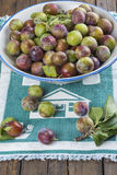 Fruit bowl with greengage plums Stock Photo