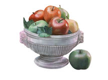 Fruit bowl illustration over white Royalty Free Stock Photo