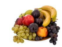 Fruit bowl isolated on white. Assorted colours, colors. Royalty Free Stock Photos