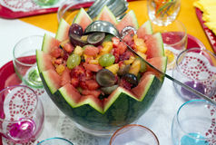 Fruit in a bowl. Mix fruit in a bowl from a watermelon Stock Image