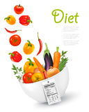 Fruit in a bowl with a nutritional label..Concept of diet. Vecto Stock Photography