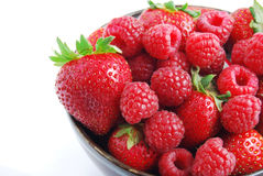 Fruit Bowl - Strawberries & Raspberries Stock Photo