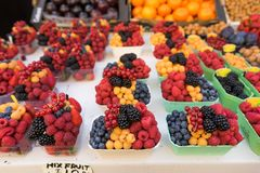 Fruit bowls. Sold by the roadside in Prague stock images