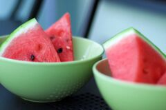 Fruit bowls with watermelon  Royalty Free Stock Images