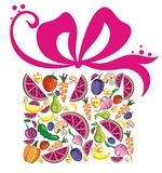 Fruit box with a bow. Fresh juicy fruits background in shape of box Royalty Free Stock Photo