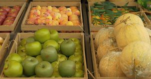 Fruit Boxes. Fresh fruit assortment in rustic wooden box stock video footage