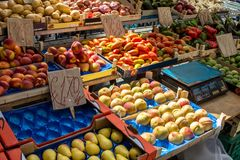 Fruit boxes with plums and peaches Royalty Free Stock Images