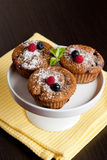 Fruit and bran muffins with fresh blueberries and raspberries Stock Image