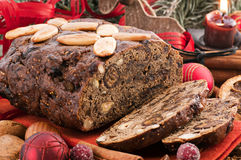 Fruit Bread. Traditional Sweet Fruit bread with christmas decoration Royalty Free Stock Photo