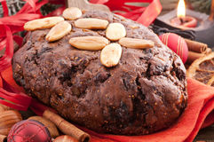 Fruit bread. With christmas decoration Stock Photos