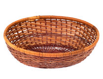 FRuit or bread basket. Empty wooden  fruit or bread basket  on white background Stock Images