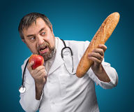 Fruit or bread. Healthy eating concept. Royalty Free Stock Photos