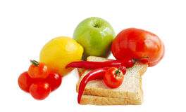 Fruit,bread and vegetables Royalty Free Stock Photography