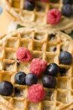 Fruit on Breakfast Waffles Stock Photo