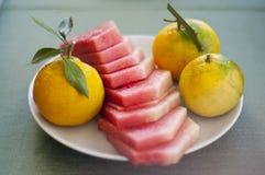 Fruit breakfast of watermelon, mandarins and tangerine. Fruit breakfast of watermelon and mandarins Stock Photo