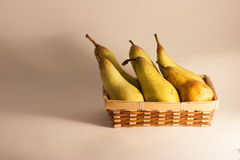 Fruit. Brown box wooden with fresh fruit pear Stock Images