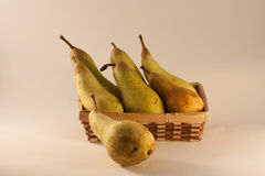 Fruit. Brown box wooden with fresh fruit pear Royalty Free Stock Photos