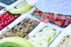 Fruit Buffet. Buffet of fresh fruits for selection of fruit dishes and desserts Royalty Free Stock Photos