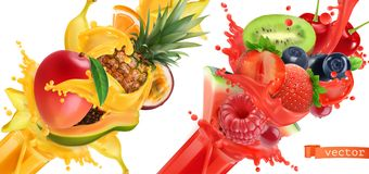 Fruit burst. Splash of juice. 3d vector icon set. Fruit burst. Splash of juice. Sweet tropical fruits and mixed berries. Mango, banana, pineapple, papaya royalty free illustration