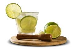 Fruit Caipirinha de citron du Brésil sur le fond blanc Image stock