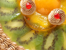 Fruit cake 1. Cake fragment with cream and fruits in jelly Stock Image