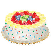 Fruit cake. Delicious cream cake with fruits Royalty Free Stock Photography