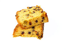 Fruit cake. 2 pieces of fruit cake royalty free stock photos